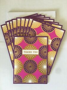 Hallmark Thank YOU Gold Foil Pink & Purple Blank Note Cards ~ 10 w/Envelopes