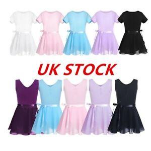 UK Girls Ballet Dance Dress Chiffon Gymnastics Leotards+Wrap Tutu Skirts Outfits
