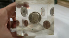 g United States Coins In A Lucite Cube Paperweight Full 1965 Set