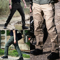 US Men's Tactical Waterproof Work Cargo Long Pants with Pockets Loose Trousers