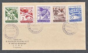YUGOSLAVIA #295-99 FIRST DAY COVER FOR 3RD AVIATION MEET RUMA SERBIA 1950
