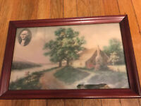 Framed Vintage Painted Photo Cottage by River with George Washington Antique