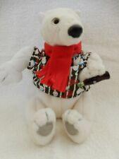 Coca Cola  Polar Bear Shirt Bean Bag Plush Stuffed Animal  Mini Coke Bottle EUC