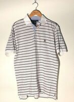 Mens Tommy Hilfiger Size Medium Striped Short Sleeve Polo Shirt Crest