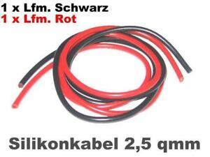 Silikonkabel  2,5qm 2x1 m ROT/SCHWARZ, hochflexibel !