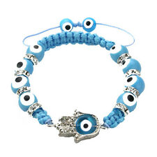 Glass Bracelet with Evil Eye Hamsa in Light Blue for Protection
