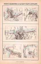 1870 MAP ~ E COAST PORTS & HARBOURS SCARBOROUGH GOOLE SUNDERLAND HARWICH GRIMSBY