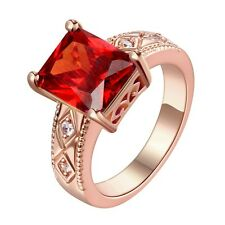 18k Rose Gold Plated Ruby Red Crystal Solid Wedding Engagement Band Ring Size 9