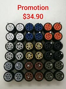 🚨PROMO 6 SPOKE HOT WHEELS CUSTOM WHEELS RUBBER WHEELS TIRES 18 SETS 10mm JDM