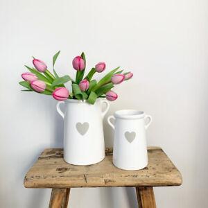 White Grey Ceramic pot jug vase with heart kitchen plant utensils storage chic