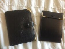 MENS WALLET + CREDIT CARD HOLDER- BLACK REAL LEATHER with GOLD METAL CORNERS