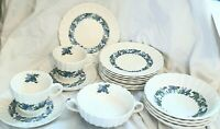 SET OF 15 ~ Spode Copeland Valencia Blue Green: Cup Saucer, coupe bowl, and more