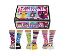 United Oddsocks Catwalk - 6 Purrfect Cat socks - GIFT BOXED - Ladies UK 4 - 8