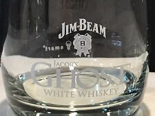 Two (2) Jim Beam Etched Jacob's Ghost White Whiskey Glasses