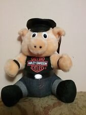 Harley Davidson Pig Biker Stuffed Animal 20 Inches Plush Logo Faux Leather Hat