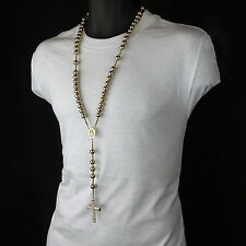 Men's Hip Hop 15mm GOLD Bead 14kt GP Guadalupe Rosary & Jesus Cross Necklace