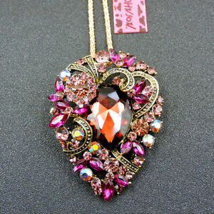 Betsey Johnson Woman's Pink Crystal Rhinestone Flower Pendant Necklace/Brooch