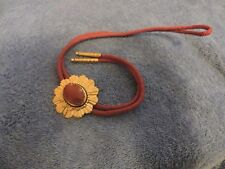 Red Bolo Tie with Gold Pendent with Red Stone