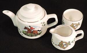 Carrigaline Pottery 4pc set teapot sugar creamer horse & rider shamrocks Ireland