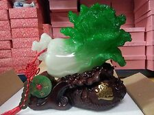 """Chinese Fengshui Green Cabbage Bok Choy Statue 10""""H x 10""""L"""