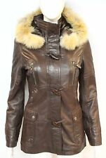 Trench Ladies Brown Classic Mid-length DESIGNER Real Italian Leather Jacket Coat 10