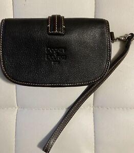 Dooney & Bourke Black Leather Dark Brown Trim Wristlet