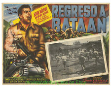 BACK TO BATAAN Mexican Movie Poster 12.5x17 Inch Lobby Card JOHN WAYNE 1945