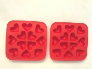 2 IKEA RED HEART MOLD ICE CUBE TRAYS SYNTHETIC RUBBER LOVE SHOWERS WEDDINGS