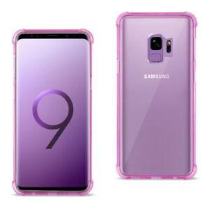 Reiko Samsung Galaxy S9 Clear Bumper Case Air Cushion Protection Clear Hot Pink