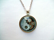 "PSK3 - YIN YANG CLOCK, Silver Plated Glass Domed PENDANT with 20"" chain"