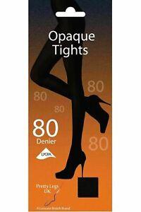 PRETTY LEGS 80 DENIER OPAQUE BLACK WOMENS TIGHTS LYCRA FIBRE FREE DELIVERY