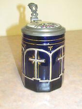 Old German Cobalt Glass Beer Stein With Cross Theme and Hand Painted Lid 5 Inchs
