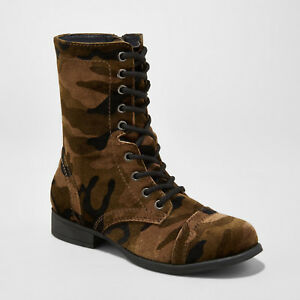 NEW! Mossimo Autumn Printed Velvet Green Camo Combat Boots - Various Sizes!