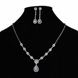 18K White Gold Diamond White Crystal Dangle Earring and Necklace Set  430