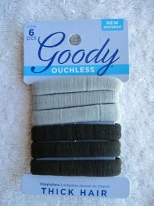 6 Goody Ouchless Thick Hair Gentle Fit Soft Elastic Fabric No Metal Bands Gray