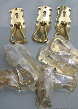 "10 polished old style pulls handles heavy brass vintage cupboard key hole 4"" B"
