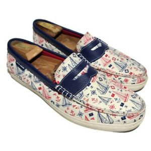 Cole Haan Grand OS Nautical Sailboat Canvas Penny Loafers Boat Shoes Men's 10.5