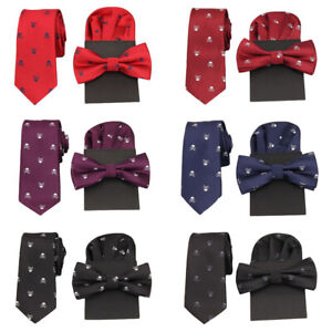 Men Skull Print Necktie Pre-tied Tuxedo Bow Tie Pre-folded Pocket Square Set