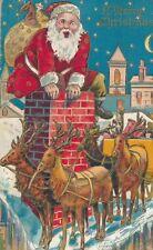 1908 Santa & Reindeer at Chimney, Deco Robe Robbins Embossed Christmas Postcard