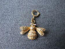 Cute rhinestones golden metal bee charm  bracelets with clasp