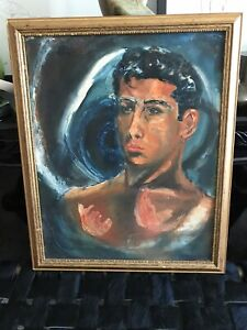 Vintage Surfer Oil Painting 1951 Surfing Pipe Signed