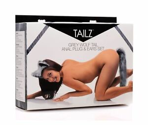 Tailz Anal Plug and Ears Set Grey Wolf Tail Adult Sex Toy Dildo Dong