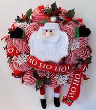 SANTA CLAUS CHRISTMAS WREATH RED WHITE DECO MESH HOLIDAY XMAS RIBBONS DECORATION