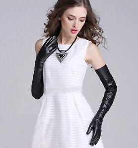 "women new winter warm 58cm(22.83"") long plain real sheep leather gloves black"