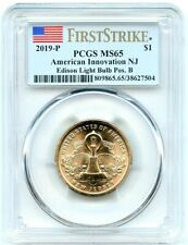 2019-P Innovation New Jersey Dollar, PCGS MS-65 Pos B, First Strike Very Flashy!
