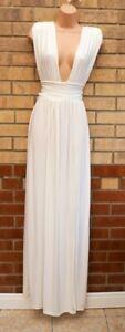 PRETTYLITTLETHING WHITE PLUNGE SPLIT SIDE GRECIAN LONG MAXI PARTY DRESS 8 S