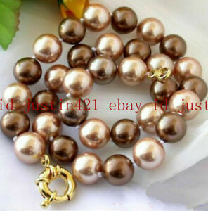 Natural 8/10/12mm Multicolor South Sea Shell Pearl Round Beads Necklace 18'' AAA