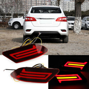 2x LED Rear Bumper Reflector Brake Light DRL Turn Lamp for Nissan Sylphy 2016-18