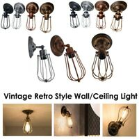 Vintage Retro Sconce E27 Industrial Edison Wall Wire Cage Loft Ceiling Wall Lamp