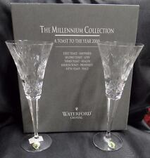 "Waterford Crystal Millennium: 2 Prosperity Champagne Flutes, 9.25"", Stickers,Box"